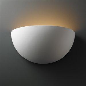 (Justice Design CER-1100-TERA-HAL Really Big Quarter Sphere Sconce, Choose Finish: Terra Cotta Finish (Smooth Faux), Choose Lamping Option: 150W RSC Halogen 78MM)