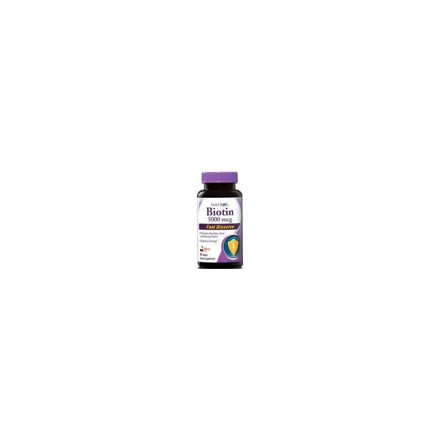 Natrol Biotin 5000 Mcg Fast Dissolve Strawberry, 90 Count