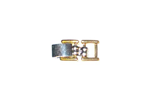 (2 Tone Fold Over Clasp Extender 6.5mm Wide Silver Tone & Gold Plate by Lisa's Unique Gifts N)