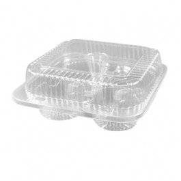 Oven Right Hinged (4 Count Clear Hinged Cupcake/Muffin Plastic Container - 250 per)