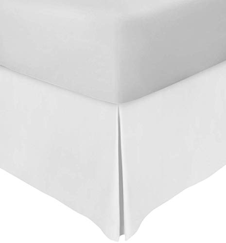 Bed Skirt Queen Size 18 inch Drop Split Corner Premium 600 Thread Count 100% Soft Egyptian Cotton Tailored Fit Queen Size Bed Skirt Luxurious & Wrinkle Free (White, Queen 60x80 Size 18 Inch Drop)