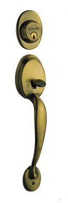 Schlage F92-PLY Plymouth Dummy Exterior Handleset from the F-Series, Antique Brass Antique Brass Plymouth