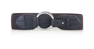 Lauren Ralph Lauren Croc-Embossed Stretch Belt - Black (Ralph Lauren Croc)