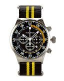 Nautica Mens NST Chronograph Stainless Steel Case Black & Yellow Nylon Strap Watch A18707G