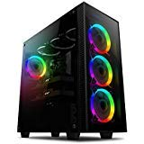 anidees AI-Crystal-AR Mid Tower Liquid Cooling, Gaming ATX Case w/Tempered Glass Side Window and Front Panel, Black Interior, RGB LED Fans, E-ATX, 360/280 Radiator Support - Black RGB Version (5 Mm Tempered Glass)