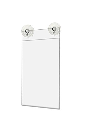 Marketing Holders Window Flyer Frame Glass Mount Advertisement Sign Display Literature Holder with Suction Cups and Hanging Hooks 4''w x 6''h Pack of 24 by Marketing Holders (Image #2)