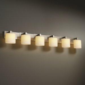 Justice Design CNDL-8926-19-CREM-MBLK CandleAria - Six Light Bath Bar, Glass Options: CREM: Cream Shade, Choose Finish: Matte Black Finish, Choose Lamping Option: Standard (Justice Design Cream Matte Bars)