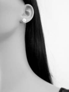6MM Bling WHITE Disco Ball Shamballa Style Sterling Silver Stud Earrings Swarovksi Style Austrian Crystal Earrings