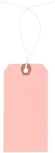 """Aviditi G11052J Pre-Strung Shipping Tag, 13 Point Cardstock, 4-3/4"""" Height x 2-3/8"""" Width, Pink (Case of 1000)"""