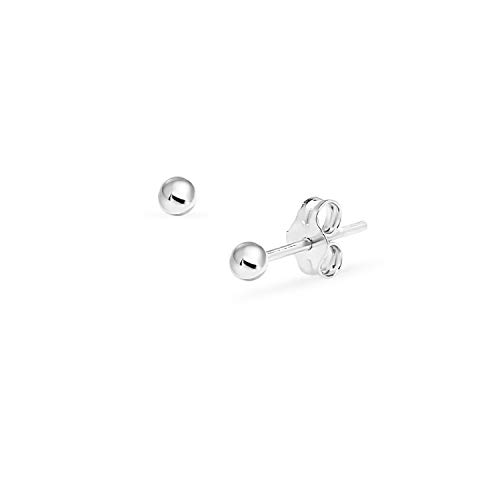 Bead Ball Tiny Stud Earrings in Sterling Silver 2mm