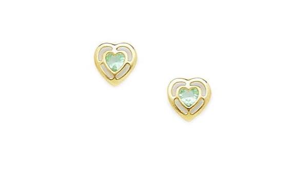2df57dd9a Amazon.com: 14k Yellow Gold March Lt-Blue 3x3mm CZ Heart Screw-Back  Earrings - Measures 8x7mm: Stud Earrings: Jewelry