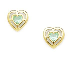 3ba6dda9c Image Unavailable. Image not available for. Color: 14k Yellow Gold March Lt- Blue 3x3mm CZ Heart Screw-Back ...