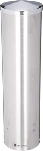 (San Jamar C3450 Stainless Steel Large Pull Type Water Cup Dispenser, Fits 8oz to 12oz Cone and 12oz to 24oz Flat Cup Size, 3-1/4