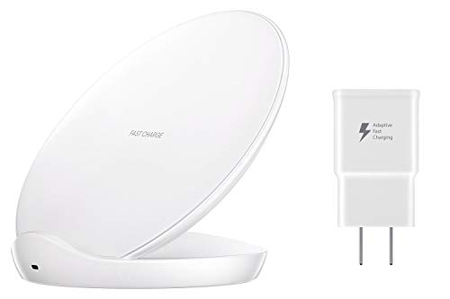 Samsung Qi Certified Fast Charge Wireless Charging Stand W/ AFC Wall Charger White