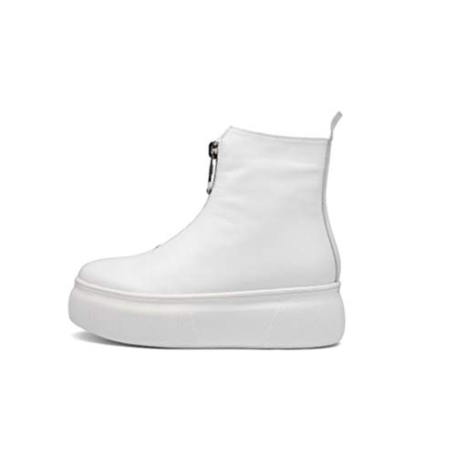 Martin Cuña Botas Redonda Moda Cuero De Cabeza Plataforma Mujer Zapatos Frontal Con Cremallera Blanco Negro Yan 4wqd8Cx8