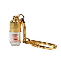 Gold Nitro Pill Fob Key Chain - Small Medication Container for On-the-Go Travel Convenience