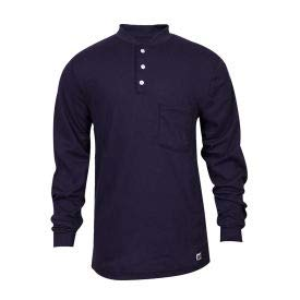 National Safety Apparel Flame Resistant Classic Cotton Henley, L, Navy, C54PIBSLSLG (C54PIBSLSLG)