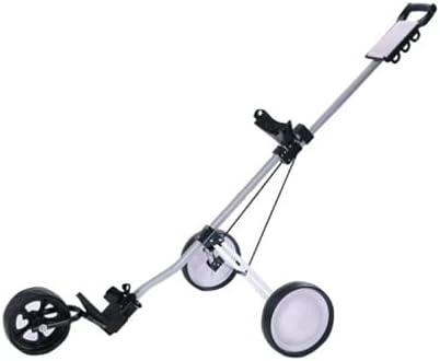 Bowake New Foldable 3 Wheel Golf Push Cart Trolley Scorecard Drink Holder, Push-Pull Golf Carts