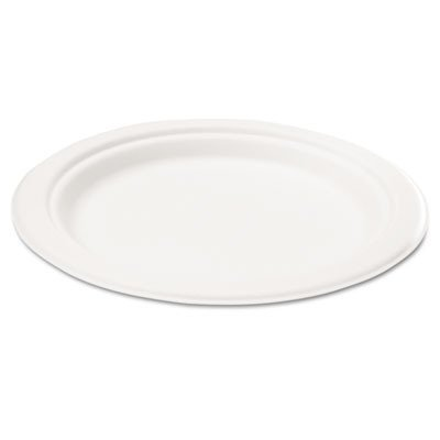 Compostable Sugarcane Bagasse 7 inch Plates, Round, White, 50 plates per pack