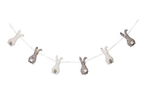 De Kulture Handmade Felt Easter Stuffed Bunny Garland (48 inches Long) for Easter Decoration Home Decoration Party Decoration (Grey and Off-White)
