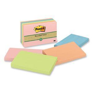 Post-it Greener Notes 655RPA - Recycled Pastel Notes, 3 x 5, Four Colors, 5 100-Sheet Pads/Pack (Adhesive Cube Notepads)