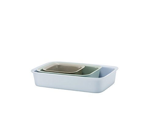 Rig-Tig Stoneware Cook and Serve 3-Piece Ovenproof Dish, Grey/ Green/ Blue (Blue Rig)