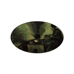 Vincent Fireplace - Peasant Woman by the Fireplace By Vincent Van Gogh Oval Sticker