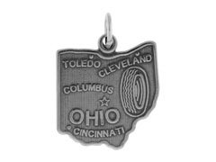 Crystal State Ohio - Sterling Silver Ohio State Charm