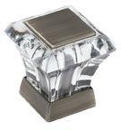 """Abernathy Series, Zinc Die Cast Knobs 1-3/16"""" Length, Carbonized Acrylic/Antique Silver"""