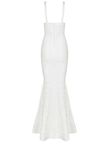 Hego Women's V-Neck Backless Fishtail Bandage Formal Evening Dresses Long H2082