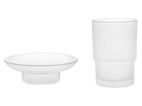 - Livpow Glass Toothbrush Cup and Soap Dish Replacement Set Frosted