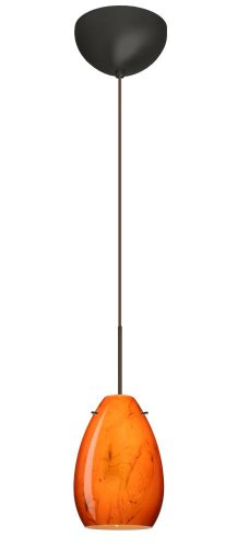 (Besa Lighting 1XC-1713HB-BR 1X50W Gy6.35 Pera 6 Pendant with Habanero Glass, Bronze Finish)