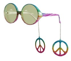 Elope Peace Sign Danglers Glasses, Multicolor/Yellow , One - Glasses Dollar 7