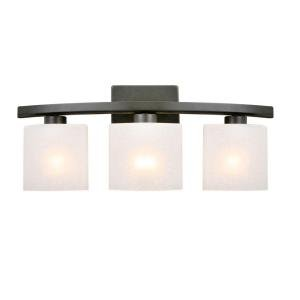 Hampton Bay DTH1313A-2/ORB Ettrick 3-Light Bathroom Vanity Light Fixture in Oil-Rubbed Bronze with Linen Glass Shades