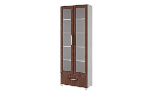 - Manhattan Comfort 75AMC193 Serra Modern Storage Bookcase with Glass Door, White/Nut Brown