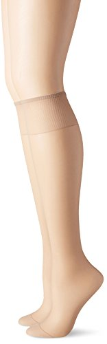 Hanes Silk Reflections Women's Knee High Reinforce Toe 2 Pack, Nude, One Size