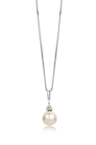 Miore - Collier Femme - Or Blanc 375/1000 (9 carats) 1.4 gr - Perle d'eau douce - 45 cm - Diamant 0.02 cts