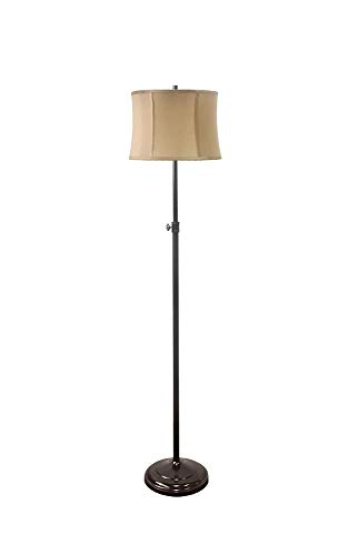 Urbanest Adjustable Height Windsor Floor Lamp, 51 1/2-inch Tall to 61 3/4-inch Tall, Oil-Rubbed Bronze Base with Golden Taupe Softback Drum Shade