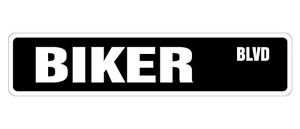 BIKER Street Sign Decal motorcycle parts dude gift cycle rice burner bike bar gang (Best Biker Gang Names)