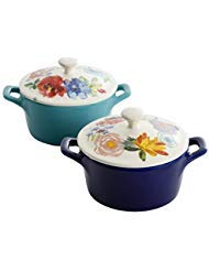 Set of 2 NEW Durable Celia Mini Casseroles by The Pioneer Woman Features Charming Floral Design, Made of Stoneware, Dishwasher & Microwave Safe