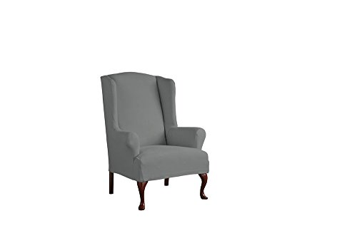 Serta 1 Piece Reversible Stretch Suede T Wingback Chair Slipcover, Steel Gray Herringbone/Gray Solid by Serta (Image #7)