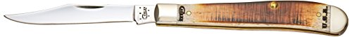 Case 58178 Amber Bone Slimline Trapper with Chrome Vanadium Steel Blade