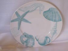 222 Fifth Coastal Life Blue Dinner Plate Set of 4