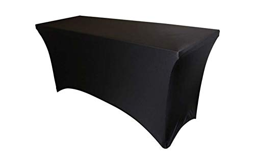 6' Stretch Spandex Rectangular Tablecloth Fitted Table Cover (Black) for DJs, Trade Shows, Banquets, Parties, Weddings or Any Event (Black)]()