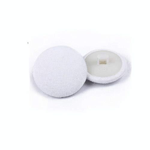 - 20pcs Satin Fabric Cover Buttons for Wedding Dress Bride Matt Sewing DIY 1.25cm (Design - White)