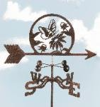 Butterfly and Flowers Weathervane with 60 Inch Garden Stake Mount