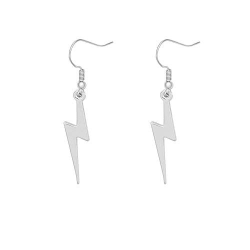 MANZHEN Simple Lightning Bolt Dangle Drop Earrings Women Flash Earrings Jewelry (silver)