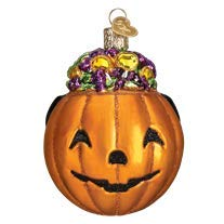 Old World Christmas Blown Glass Halloween Trick or Treat Pumpkin Ornament