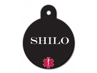 Medical Alert Personalized Custom Engraved Circle Pet ID Tags! (Large (1-1/4