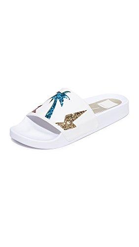 Dolce Vita Women's Traci Slide Sandal, Metallic/Multi Palm Print, 8 M US